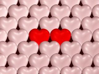 viele Herzen und ein verliebtes Paar