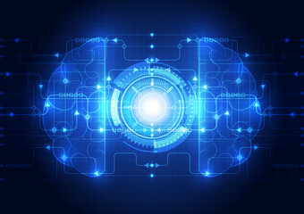 Abstract electric circuit digital brain,technology vector