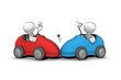 canvas print picture - little sketchy men - car accident
