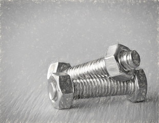 screws  - illustration based on own photo image