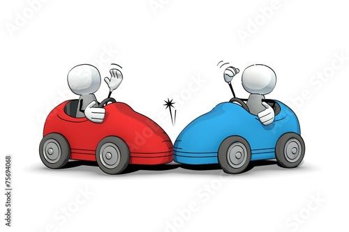 canvas print picture little sketchy men - car accident
