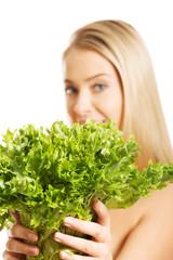 Beautiful nude woman holding salat