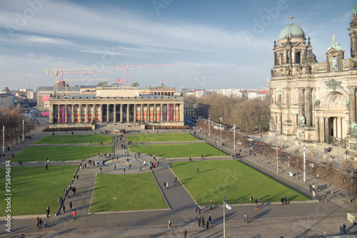 canvas print picture Lustgarten-Altes Museum-Berliner Dom