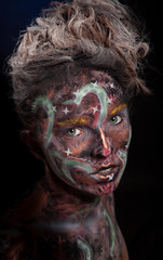 girl with color face art