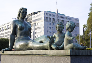 statue in front of City Hall (Radhuset), Oslo, Norway