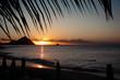 Traumstrand mit Sonnenuntergang in der Karibik