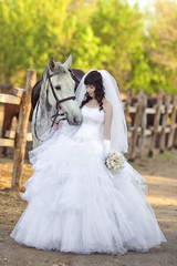 Portrait of the beautiful bride  with a grуy horse