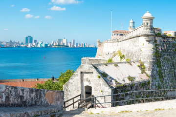 The fortress of El Morro in Havana and the city skyline
