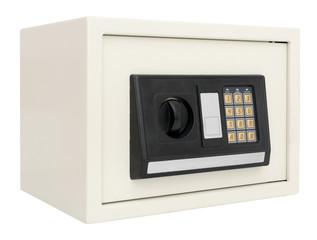 Closed electronic safe isolated on white