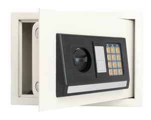 Open electronic safe box  isolated on white
