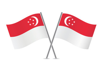 Singapore flags. Vector illustration.