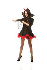 Woman wearing devil clothes