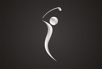 Golfer playing logo vector