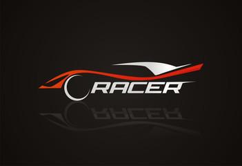 Car racer kogo icon vector