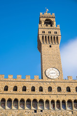 Arnolfo tower, bottom perspective view of the Palazzo Vecchio