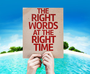 The Right Words At The Right Time card with a beach