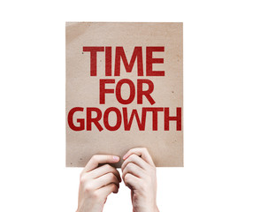 Time For Growth card isolated on white background