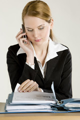 portrait of telephoning businesswoman with folders