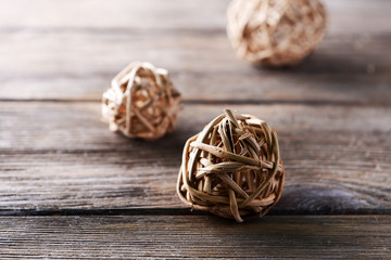 Wicker ball on table close-up