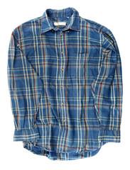 Man's blue cotton plaid shirt
