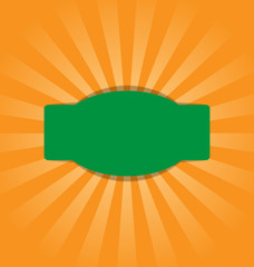 Radial stripes on orange background with green frame