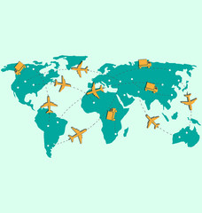 World map with air planes and trucks isolated on blue background