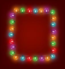 Multicolored glassy led Christmas lights garland like frame on r
