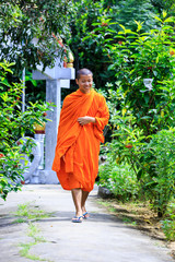 Young Buddhist Monk Walking To The Camera