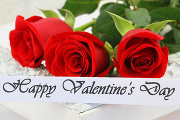 Happy Valentine's Day card with three red roses