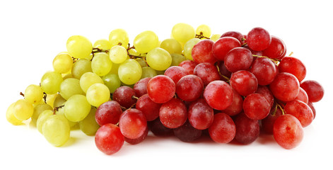 Green and red grape isolated on white background