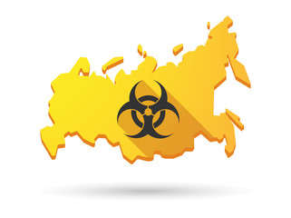 Long shadow Russia map icon with a biohazard sign