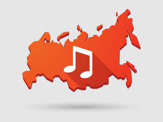 Long shadow Russia map icon with a music note