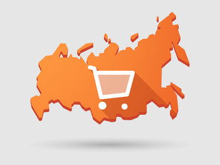Long shadow Russia map icon with a shopping cart