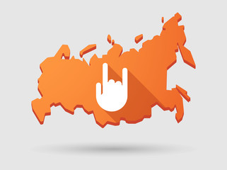Long shadow Russia map icon with a hand