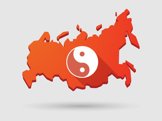 Long shadow Russia map icon with a ying yang sign