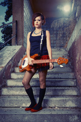 Bass guitar lady