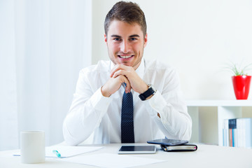 Young handsome man working in his office.