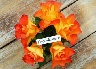 Thank you card with bouquet of roses