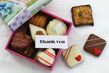 Thank you card with box of chocolates