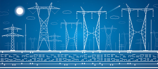 Energy panorama, power lines, industrial vector design
