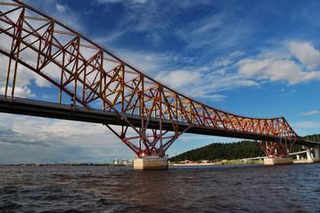 Red Dragon bridge over Irtysh river, near Khanty-Mansiysk, Russi