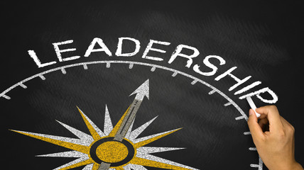 compass with the needle pointing leadership concept