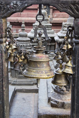 Bells - element of the decor, Swayambhunath Stupa in Kathmandu,