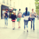 Fototapety Blurred image of people in the city.