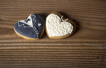 Decorated gingerbread hearts