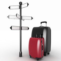 Travel concept. Signpost and suitcases on a white