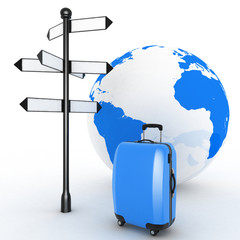 Travel concept. Signpost and suitcases on globe background