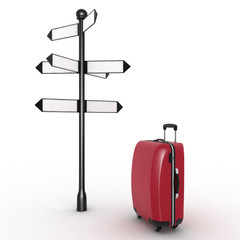 Travel concept. Signpost and suitcase on  white