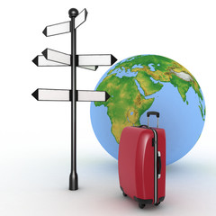 Travel concept. Signpost and suitcase on globe background