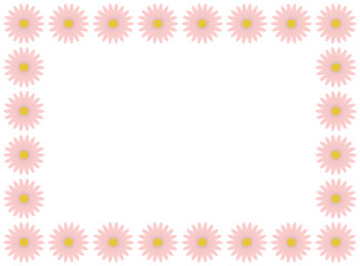 A flower frame made with pastel pink daisies